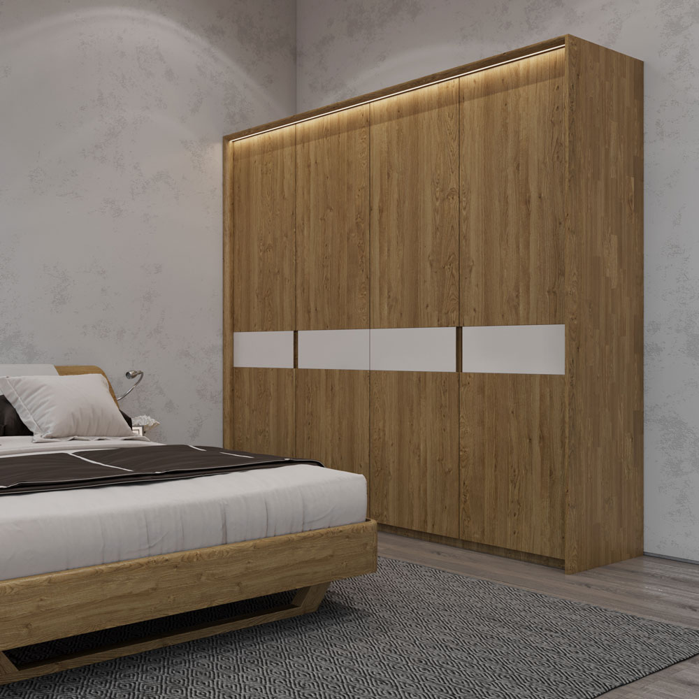 Șifonier cu 4 uși din lemn masiv de stejar