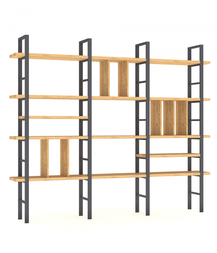 Raft metalic cu polițe din lemn masiv de stejar